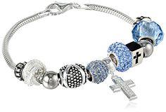 "SALE PRICE $56.07 - CHARMED BEADS Sterling Silver Faith Hope Love Bead Bracelet, 7.5"""