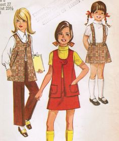 1970s Simplicity 8942 Vintage Sewing Pattern Girl's Skirt with Detachable Suspenders, Vest, and Pants Size 8. $6.00, via Etsy.