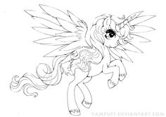 Alicorn Commission - Lineart by *YamPuff on deviantART