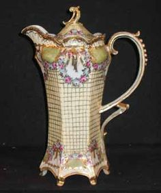 """Nippon style 11\"""" tall footed chocolate pot with lots of gold trim, marked Japan Mikada,"""
