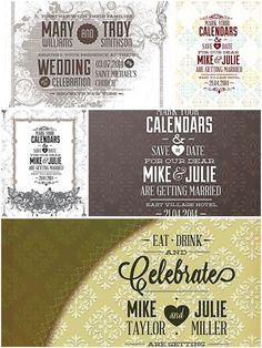 Ornate wedding invitations set vector