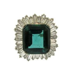 1950's Indicolite Tourmaline and Diamond Ring   From a unique collection of vintage cocktail rings at http://www.1stdibs.com/rings/cocktail-rings/