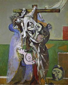 Graham Sutherland – The Deposition – 1946 – Fitzwilliam Museum, Cambridge, U. Sutherland portrays the horrors of Bergen-Belsen through the allegory of The Deposition Religious Paintings, Religious Art, Chelsea School Of Art, Art Occidental, Pop Art, Royal College Of Art, Modern Artists, Art Uk, Global Art