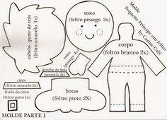 +molde+do+pequeno+príncipe. Little Prince Party, The Little Prince, Felt Patterns, Stuffed Toys Patterns, Felt Diy, Felt Crafts, Erica Catarina, Felt Books, Tiny Dolls