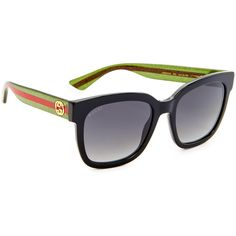 Gucci Urban Pop Square Sunglasses (1,575 MYR) ❤ liked on Polyvore featuring accessories, eyewear, sunglasses, square frame sunglasses, glitter glasses, polarized lens sunglasses, stripe sunglasses and glitter sunglasses