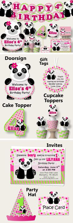 Pink Girl Panda Birthday Party or Panda Baby Shower Decorations - Party Favors, Invitation, Banner, Party Hat, centerpiece, cupcake toppers #bcpaperdesigns