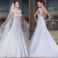 Custom made vestido de noiva wedding dresses A line backless lace beading romantic dress brides 2015latest wedding dress designs