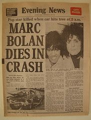 The news of Marc Bolan's premature death in the 70's.