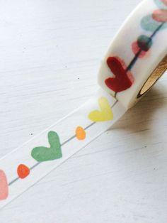 Washi Tape (10m) - colorful, rainbow heart (LTP) by shekphoebe on Etsy https://www.etsy.com/listing/238586032/washi-tape-10m-colorful-rainbow-heart