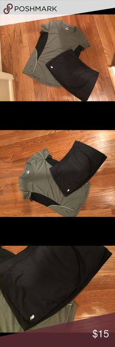 Workout skort and top New balance workout/ tennis skort and gray and black top bundle. Both size large and both worn once for a racquetball tournament.  Excellent condition. Top is by dry TEK New Balance Shorts Skorts