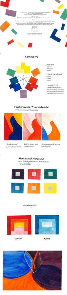 Väriteoriakansio - pää- ja välivärit, vastavärit, värikontrastit, simultaanikontrastit, väriperspektiivi, värin jatkaminen - oppilaat tekevät kansion väriteorian asioista.
