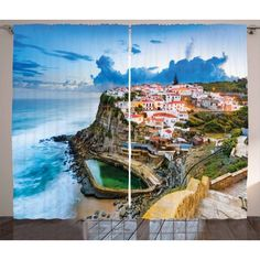 Mediterranean Curtains 2 Panels Set, Portuguese Town Coast Azenhas do Mar Beach by Cliffs Village Shore Theme, Window Drapes for Living Room Bedroom, 108W X 84L Inches, Multicolor, by Ambesonne #beachthemedweddings