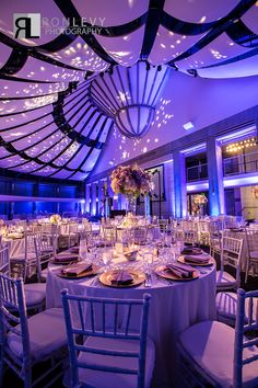 Starry night - Lighting design - Lighting transformation - Centerpieces - Tall - Unique - Purple - Lavender - Gold - White - Wedding - Bat Mitzvah - Sweet 16 - Skirball Cultural Center - Ahmanson Ballroom - PC: Ron Levy Photography - Design and Planning from www.DBCreativity.com