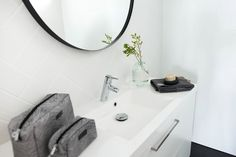 Kylpyhuone - Kastelli Asuntomessut 2017 Bathroom, Sink, Decor, Round Mirror Bathroom, Mirror, Bathroom Mirror, Home Decor