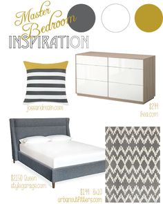 Grey, Golden Mustard Yellow, White color scheme, Master Bedroom Inspiration Board, modern