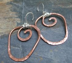 Entwined Hoops Copper and Sterling Silver by ThePurpleLilyDesigns, $38.50