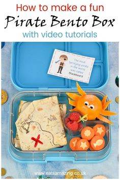How to make a fun Pirate bento box for kids - with quesadilla treasure map orange octopus and vegetable coins for a fun school lunch surprise Bento Box Lunch For Kids, Bento Kids, Lunch Ideas, Lunch Boxes, Pirate Snacks, Kid Snacks, Lunch Snacks, School Fun, School Lunches