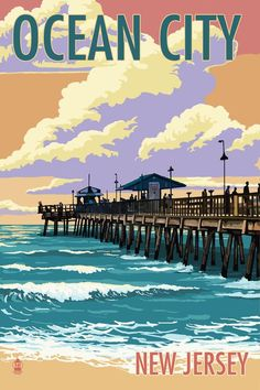 Ocean City, New Jersey - Fishing Pier (4 Sizes Art Prints, Giclees, Posters, Wood & Metal Signs, Tot