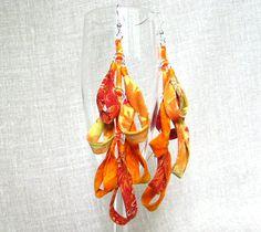 fabric chandelier earrings in orange