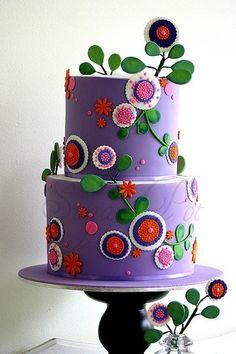 stylized floral cake