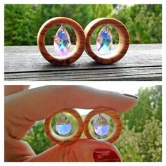 Image of Olive Wood & Dangle Swarovski Crystals Tunnels – Schmuck modelle Body Jewellery, Ear Jewelry, Buddha Kopf, Tapers And Plugs, Gauges Plugs, Plugs Earrings, Cool Piercings, Tunnels And Plugs, Flirt