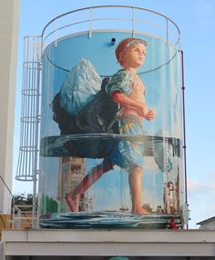 "Street art a Puerto Rico: ""Glass Half Full"" by Fintan Magee Street Art Love, Best Street Art, Amazing Street Art, Graffiti Art, Urban Graffiti, Kilroy Was Here, Murals Street Art, Mural Art, Mural Painting"