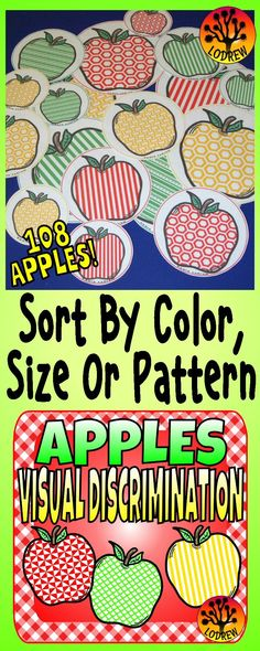 Visual discrimination & size sorting with an apple theme. 108 apples in 3 colors, 3 sizes and 12 patterns! Perfect for Preschool, Kindergarten, or SPED. Preschool Apple Theme, Fall Preschool, Preschool Themes, Preschool Lessons, Kindergarten Activities, Preschool Kindergarten, Preschool Apples, Preschool Apple Activities, Patterning Kindergarten