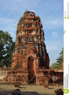 Photo about A detailed image of the ancient remains of a brick buddhist temple in Phra Nakhon Si Ayutthaya Thailand near Bangkok. Image of three, image, thai - 114192253 Temple Ruins, Buddhist Temple, Phra Nakhon Si Ayutthaya, Ayutthaya Thailand, Detailed Image, Bangkok, Big Ben, Brick, Tower