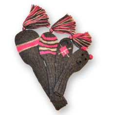 Adorable! Hand-knitted Golf Club Head Covers.