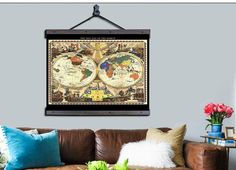 New pull down map world map on canvas 1952 60w x 40h or 48w x world pull down map world map 1928 48w x 36h gumiabroncs Images