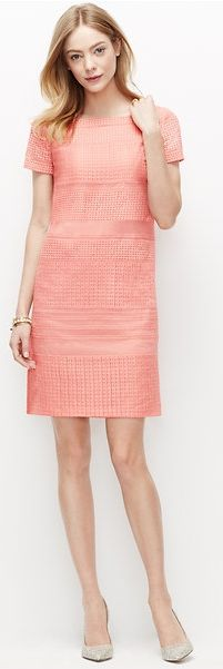This pink lace shift is a truly modern take on superfeminine dressing. Wear it to the office with a smart jacket and a blowout. Rock it on date night with bold lip and a easy, messy up-do. #datenightoutfitideas #worklooks #pinkdresses