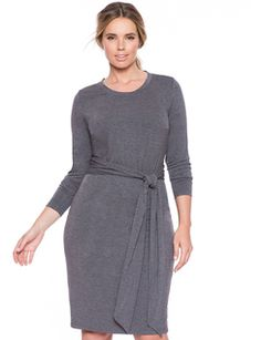 Tie Waist Dress Charcoal Grey - Plus Size //  eloqui.com // $100