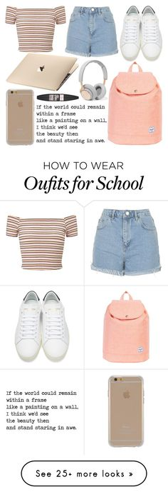 """""""School Day"""" by susanna-trad on Polyvore featuring Miss Selfridge, Topshop, Yves Saint Laurent, Herschel Supply Co., Agent 18, B&O Play and Maybelline"""