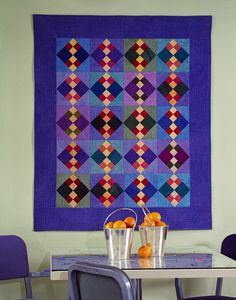 Double-four patch Amish design quilt made from Cherrywood fabrics by Christine Barnes, posted at Generation Q Magazine