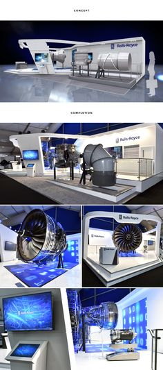 RTH designed and built a bespoke, innovative stand for Rolls-Royce to promote their key products at the most high profile event of their calendar year. An LED floor and wall right angle base and overhead structure flooded the stand with light and brought their full-scale Trent 900 engine to life.