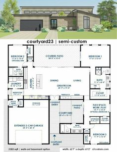 Casa grande...extra bedroom in lieu of garage....kinda cool all rooms on perimeter with courtyard and living in middle.