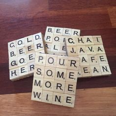 Shop for coasters on Etsy, the place to express your creativity through the buying and selling of handmade and vintage goods. Scrabble Letter Crafts, Scrabble Coasters, Scrabble Tile Crafts, Scrabble Art, Tile Coasters, Cute Crafts, Crafts To Make, Craft Night, Hobbies And Crafts
