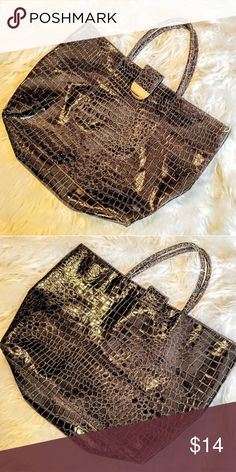 "Faux Alligator Bag Deep brown, excellent condition. Golden accent snap closure. 18"" across 12.5"" tall, 4"" wide Bags"