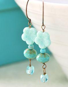 turquoise flower beaded earrings