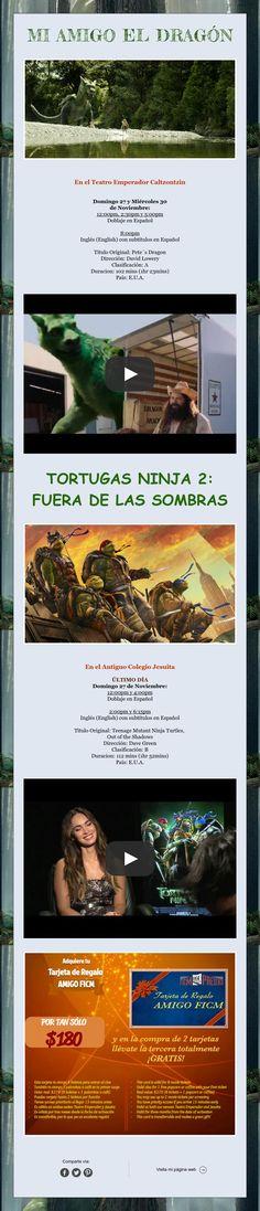"""Domingo de Cine Familiar con """"Mi Amigo el Dragón"""" y """"Tortugas Ninja 2"""" ¡Los esperamos!"""