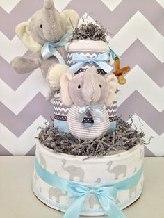 Elephant Theme Diaper Cake for Boys on Etsy, $89.00