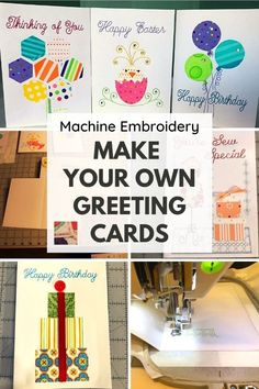 Find machine embroidery designs for cards, embroidered birthday cards, and other embroidered greeting cards on paper and cardstock. How To Make Greetings, Embroidery Cards, Machine Embroidery Projects, Cardmaking And Papercraft, Making Greeting Cards, Embroidery Techniques, Custom Cards, Paper Cards, Card Stock