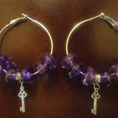 Purple Jewel Hoops w/Key Charm