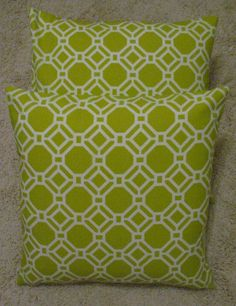 Two Pillow Covers Pillow Covers 18 x 18 Kiwi Honeycomb FABRIC BOTH SIDES Ready to ship. $30.00, via Etsy.