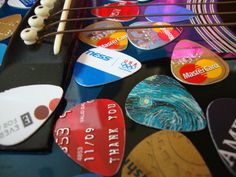 10 Guitar Picks  Recycled by Refresh on Etsy, $2.50, credit cards! duh!