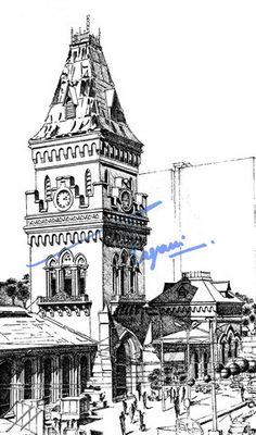 Pen Drawings Buildings - On Log Wall