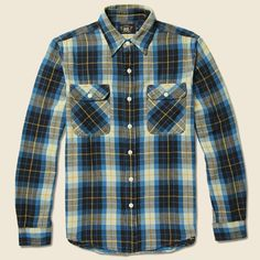 RRL Matlock Plaid Twill Workshirt - Grey/Blue