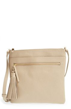 Halogen® Tasseled Leather Crossbody Bag | Nordstrom