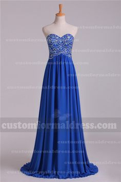 Long Royal Strapless Chiffon Prom Dresses A Line Beaded Bodice LOXF170