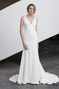 Bijou is a sheath constructed of Watters Lisse Stretch Crepe. This wedding gown is the perfect simple white dress. Try her on soon at Abbott's Bridal. Click the link to set up your appointment, Ohio brides. V Neck Wedding Dress, Luxury Wedding Dress, Elegant Wedding Dress, Perfect Wedding Dress, Best Wedding Dresses, Elegant Dresses, Bridal Dresses, Vintage Dresses, Wedding Attire